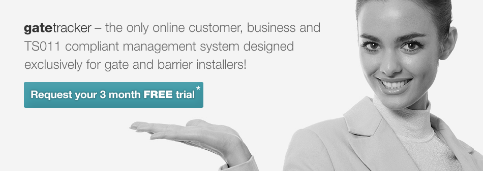 GateTracker - the only online customer, business and compliance management system designed exclusively for gate and barrier installers!
